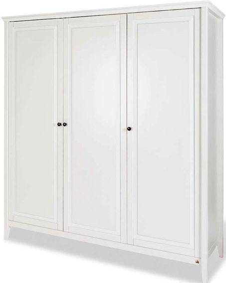 Armoire 3 portes pin massif blanc Smilla - Photo n°1