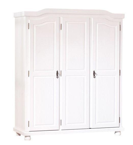 Armoire 3 portes pin massif vernis blanc Batiste - Photo n°1