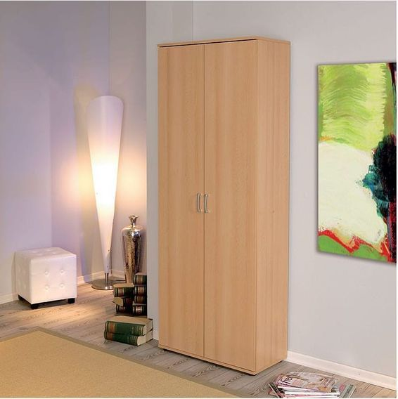 Armoire de rangement 2 portes bois hêtre clair Konati - Photo n°3