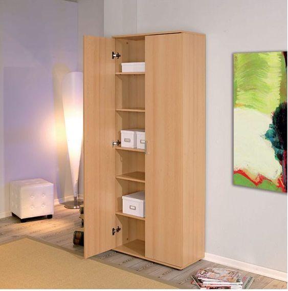 Armoire de rangement 2 portes bois hêtre clair Konati - Photo n°4