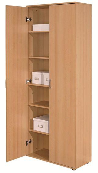 Armoire de rangement 2 portes bois hêtre clair Konati - Photo n°2