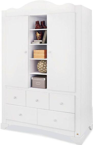 Armoire enfant 2 portes 5 tiroirs pin massif blanc Pino - Photo n°1