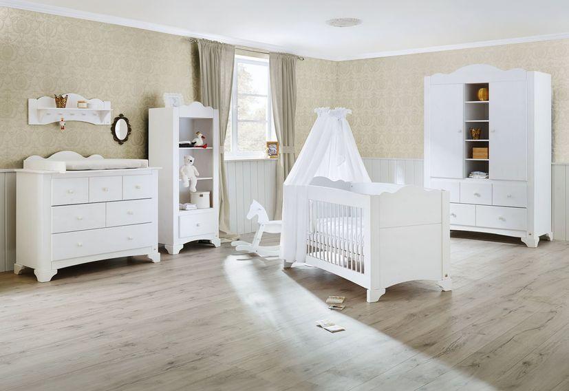 Armoire enfant 2 portes 5 tiroirs pin massif blanc Pino - Photo n°2