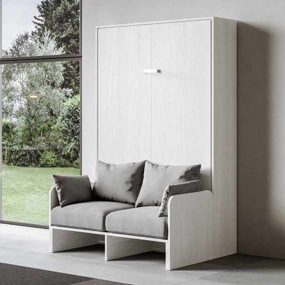 Armoire lit escamotable verticale avec canapé frêne blanc mat 140x190 cm Skoda - Photo n°9