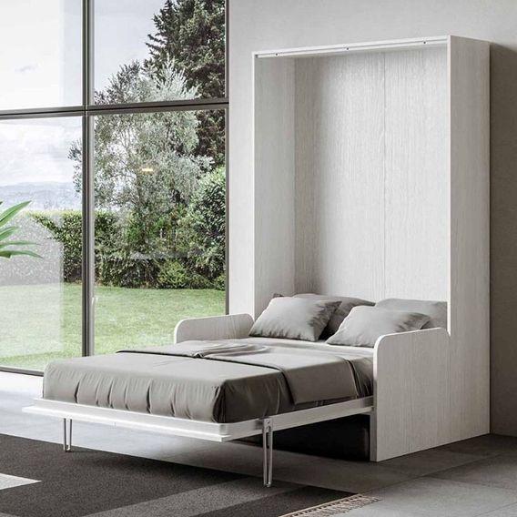 Armoire lit escamotable verticale avec canapé frêne blanc mat 140x190 cm Skoda - Photo n°10