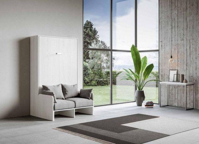 Armoire lit escamotable verticale avec canapé frêne blanc mat 140x190 cm Skoda - Photo n°1