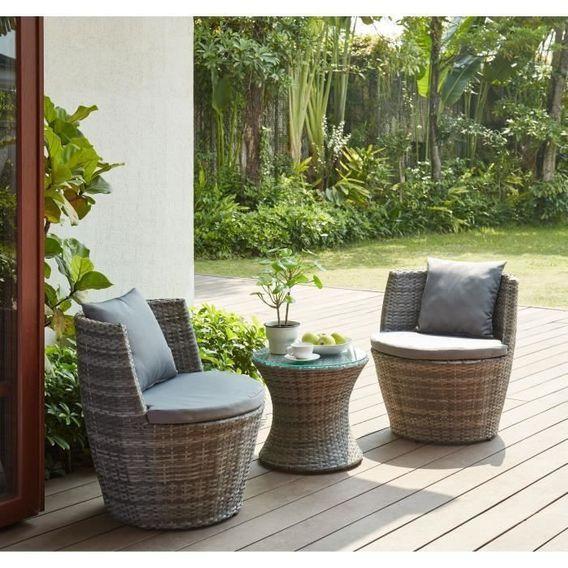 BEAU RIVAGE Salon de jardin Hilpea - 2 places - Marron - Photo n°1