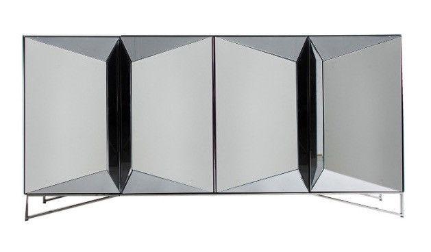 Buffet design 4 portes miroir argenté Kares 180 cm - Photo n°1