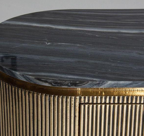 Buffet 1 porte 3 tiroirs métal vieux doré et plateau marbre noir Valura 150 cm - Photo n°2