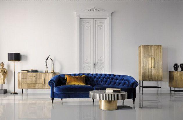 Buffet 1 porte 3 tiroirs métal vieux doré et plateau marbre noir Valura 150 cm - Photo n°4