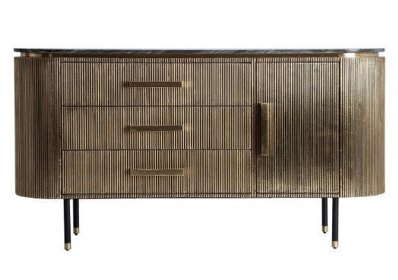 Buffet 1 porte 3 tiroirs métal vieux doré et plateau marbre noir Valura 150 cm - Photo n°1