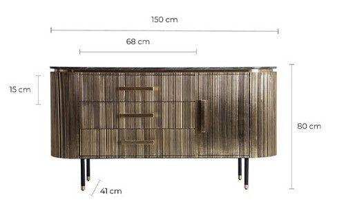 Buffet 1 porte 3 tiroirs métal vieux doré et plateau marbre noir Valura 150 cm - Photo n°5