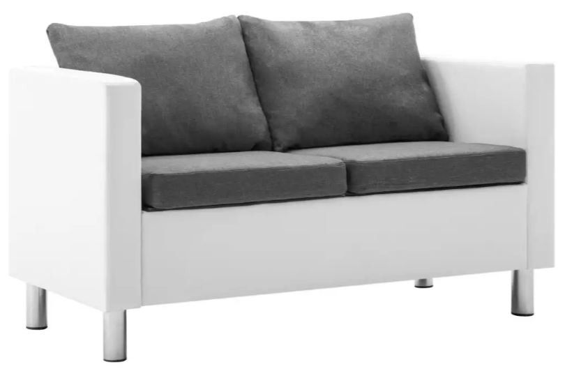 Canapé 2 places simili cuir blanc et gris clair Salma - Photo n°1