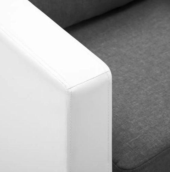 Canapé 2 places simili cuir blanc et gris clair Salma - Photo n°2