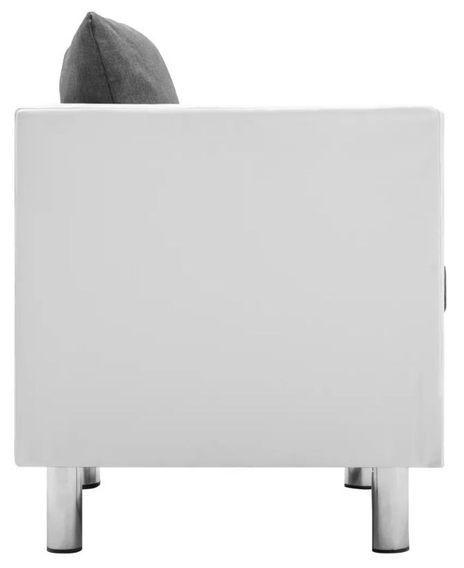 Canapé 2 places simili cuir blanc et gris clair Salma - Photo n°4