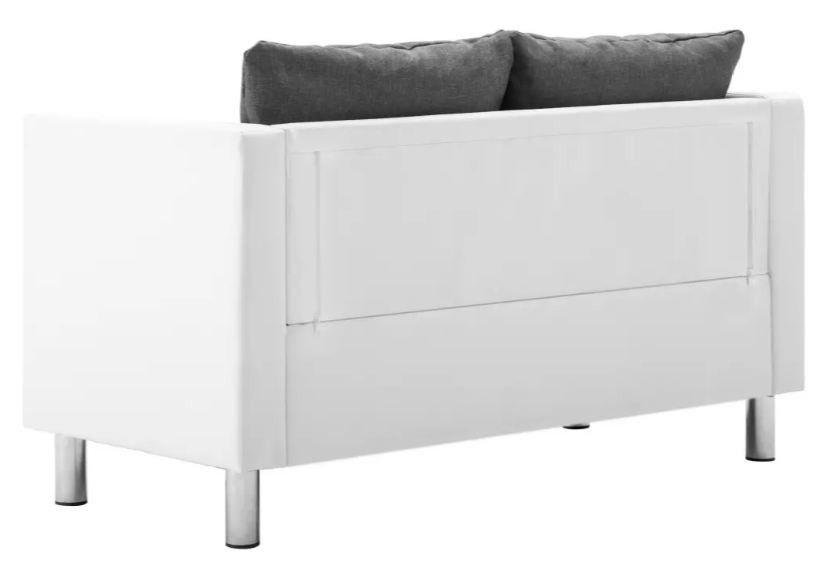Canapé 2 places simili cuir blanc et gris clair Salma - Photo n°5
