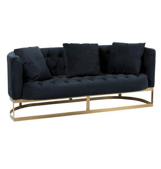 Canapé 2 places velours anthracite et pieds métal doré Ysarg - Photo n°1