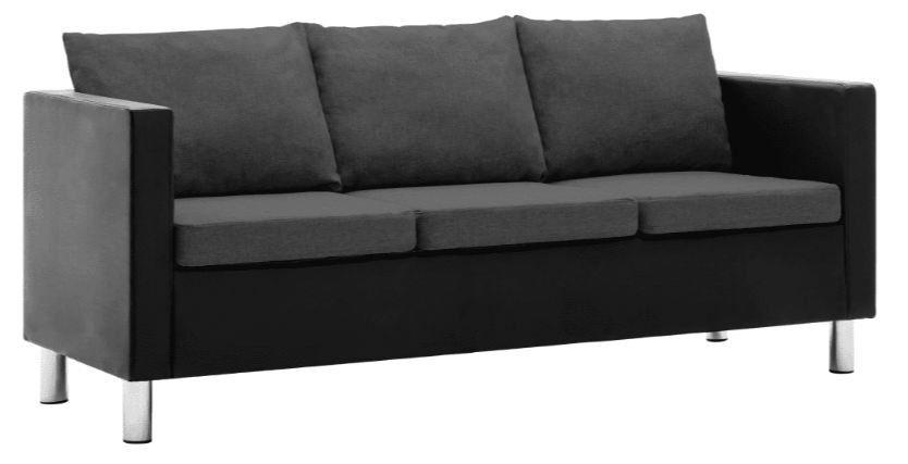 Canapé 3 places simili cuir noir et gris foncé Salma - Photo n°1