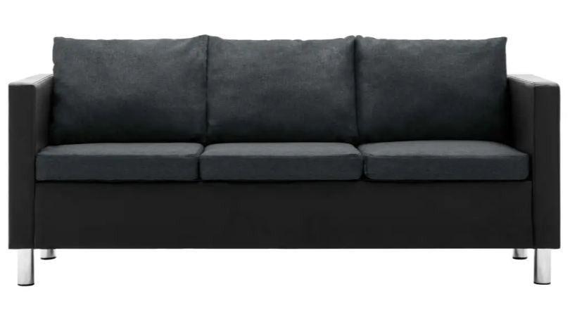 Canapé 3 places simili cuir noir et gris foncé Salma - Photo n°3