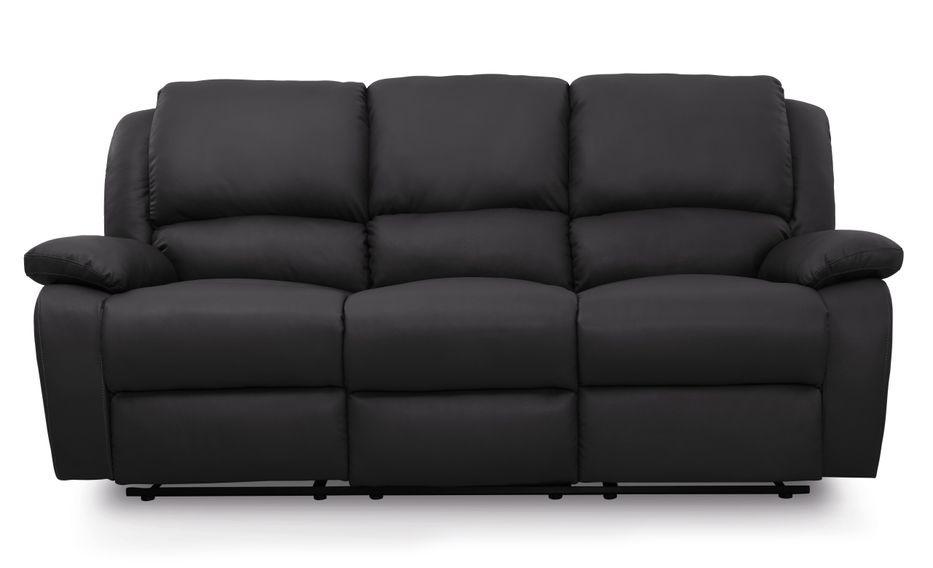 Canapé relaxation manuel 3 places microfibre noir Confort - Photo n°1