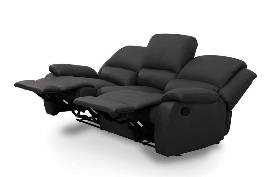 Canapé relaxation manuel 3 places microfibre noir Confort - Photo n°2