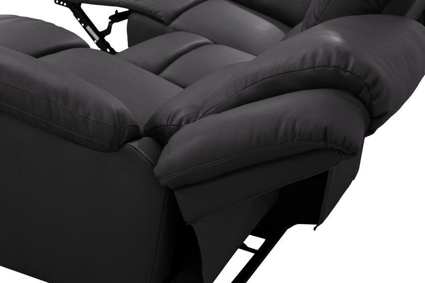 Canapé relaxation manuel 3 places microfibre noir Confort - Photo n°3