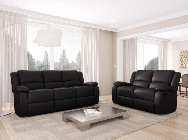 Canapé relaxation manuel 3 places microfibre noir Confort - Photo n°5