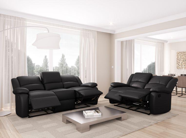 Canapé relaxation manuel 3 places microfibre noir Confort - Photo n°6