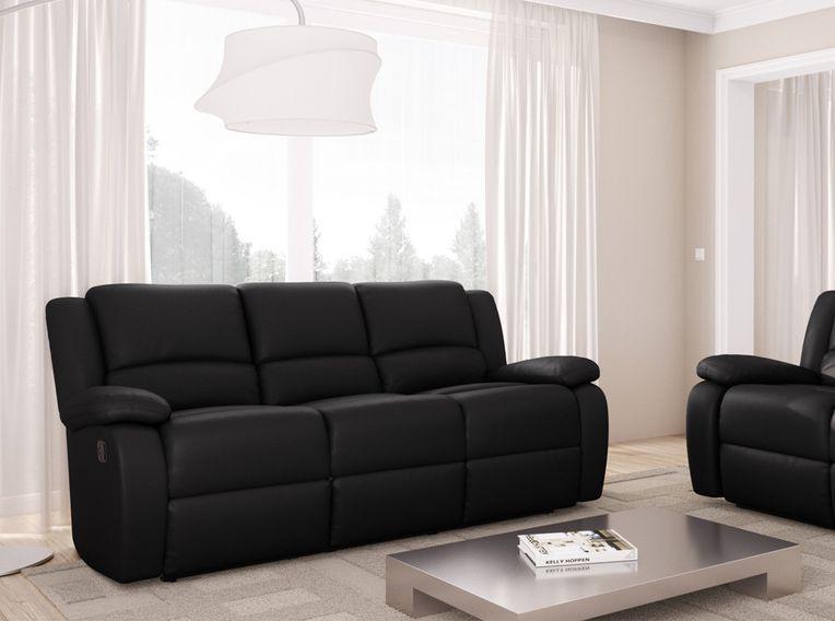 Canapé relaxation manuel 3 places microfibre noir Confort - Photo n°7