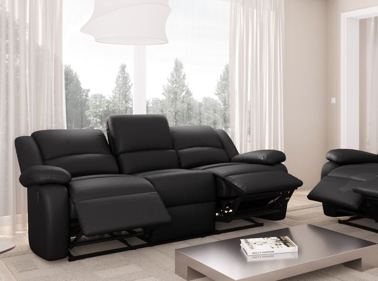 Canapé relaxation manuel 3 places microfibre noir Confort - Photo n°8