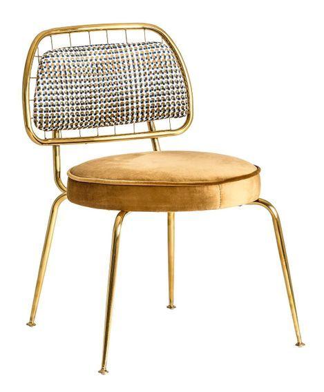 Chaise art déco métal doré et assise tissu moutarde Bari - Lot de 2 - Photo n°1