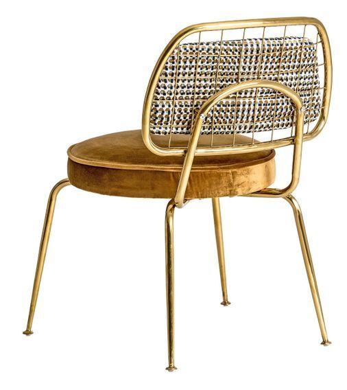 Chaise art déco métal doré et assise tissu moutarde Bari - Lot de 2 - Photo n°4