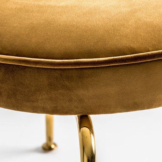 Chaise art déco métal doré et assise tissu moutarde Bari - Lot de 2 - Photo n°5