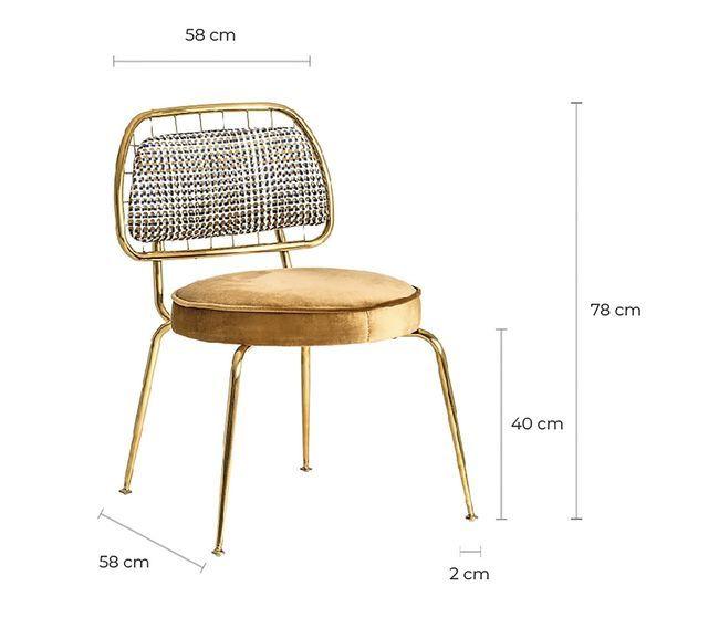 Chaise art déco métal doré et assise tissu moutarde Bari - Lot de 2 - Photo n°7