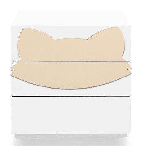 Commode 3 tiroirs laqué blanc et motif renard orange Fox - Photo n°1