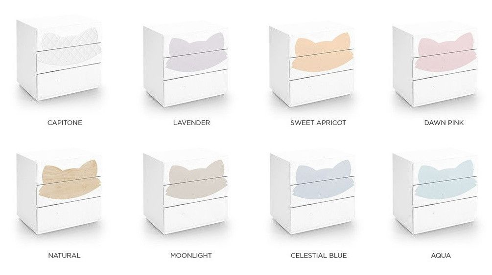 Commode 3 tiroirs laqué blanc et motif renard orange Fox - Photo n°2