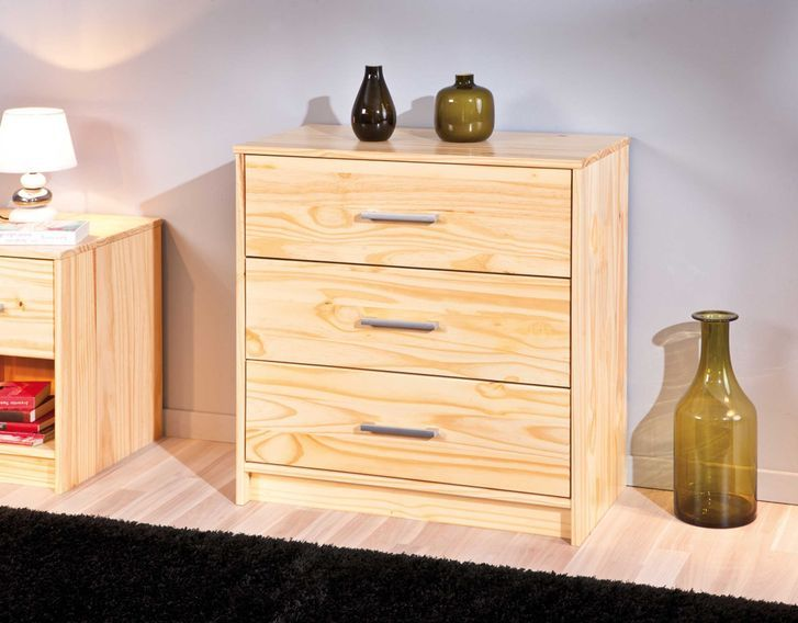 Commode 3 tiroirs pin massif clair Jersa - Photo n°3