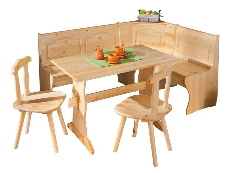 Ensemble table avec banc et chaises pin massif clair Vencia - Photo n°1