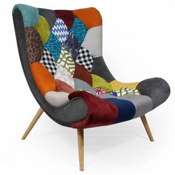 Fauteuil patchwork tissu multicolore et pieds bois clair Ulric - Photo n°1