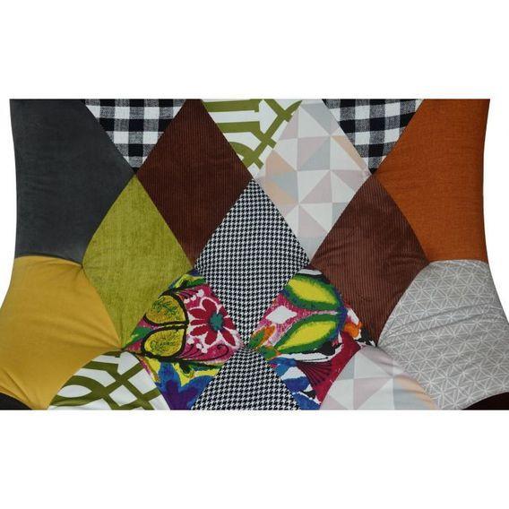 Fauteuil patchwork tissu multicolore et pieds bois clair Ulric - Photo n°6