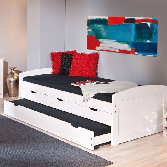 Lit banquette 4 tiroirs pin massif blanc Zara 90x200 cm - Photo n°7