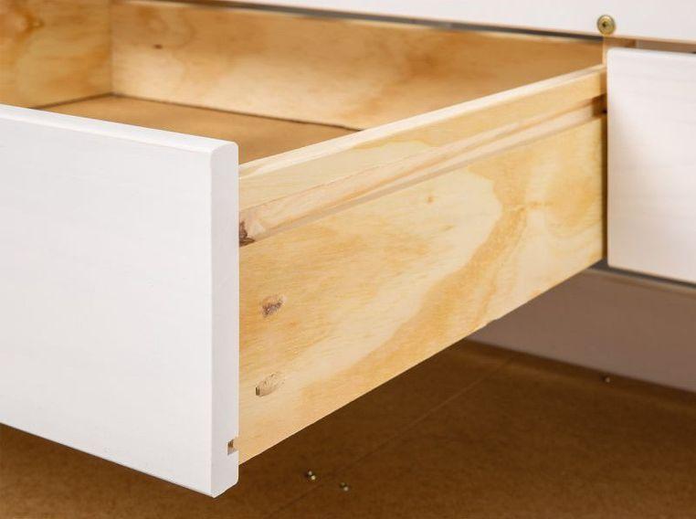Lit banquette 4 tiroirs pin massif blanc Zara 90x200 cm - Photo n°5