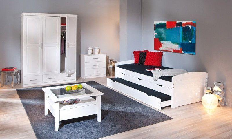 Lit banquette 4 tiroirs pin massif blanc Zara 90x200 cm - Photo n°10
