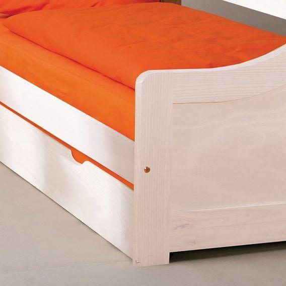 Lit banquette avec tiroir lit pin massif blanc Theo 90x190 cm - Photo n°3