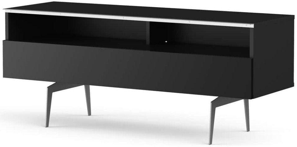 Meuble TV 2 niches 1 porte bois noir Yvanna 120 cm - Photo n°1
