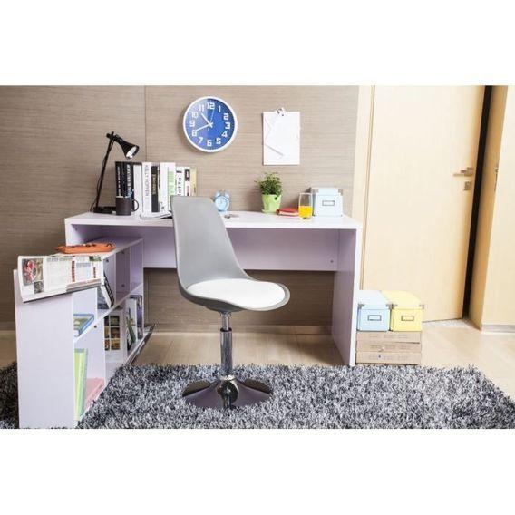 POPPY Chaise de salle a manger pivotante - Simili gris et blanc - Contemporain - L 48,5 x P 53 cm - Photo n°2