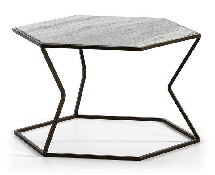 Table basse marbre gris et métal marron Trois - Photo n°1