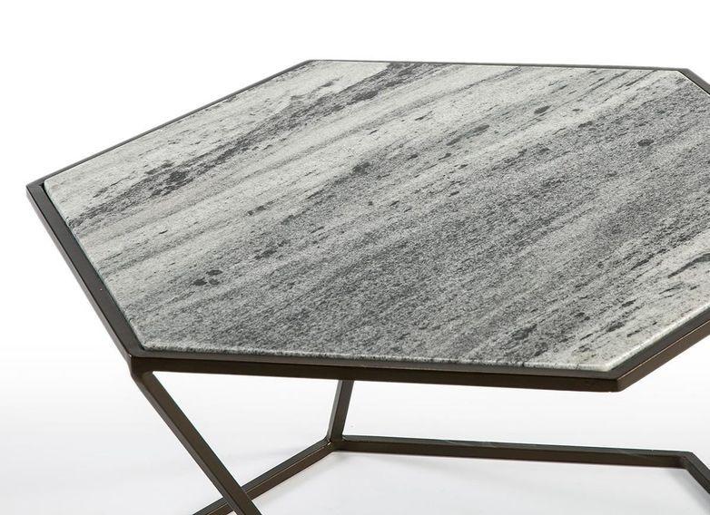 Table basse marbre gris et métal marron Trois - Photo n°3