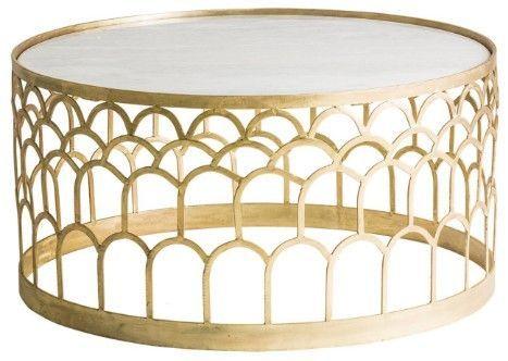Table basse ronde art déco métal doré et plateau marbre Sacha - Photo n°1