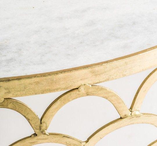 Table basse ronde art déco métal doré et plateau marbre Sacha - Photo n°3